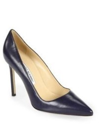 Manolo Blahnik Bb 105 Leather Point Toe Pumps