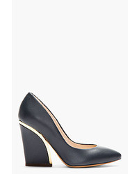 Chloé Deep Navy Leather Gold Trimmed Heels