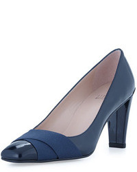 Stuart Weitzman Expert Patent Leather Crisscross Pump Navy