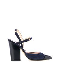 Thom Browne High Block Dorsay Slingback Heel In Leather