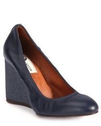 Lanvin Leather Ballerina Wedge Pumps