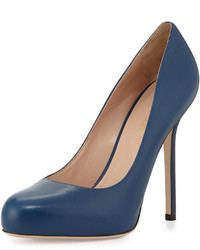 Sergio Rossi Round Toe Leather Pump Blue