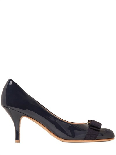... Salvatore Ferragamo 70mm Carla Patent Leather Pumps