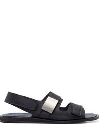 Calvin Klein Collection Black Leather Strap Sandals