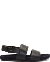 Lanvin Deep Blue Black Leather Sandals