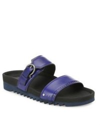 a58530a84ac3 Men s Navy Leather Sandals by Salvatore Ferragamo