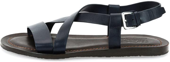 296d34982c4c Salvatore Ferragamo Nostro Crisscross Strap Calfskin Sandal Navybrown
