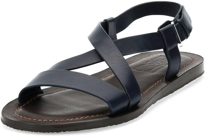 a8fe0d31b182 ... Navy Leather Sandals Salvatore Ferragamo Nostro Crisscross Strap  Calfskin Sandal Navybrown ...