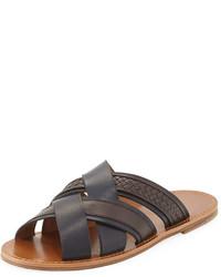 00decf94e2b6 Bottega Veneta Woven Leather Crisscross Sandal Navybrown