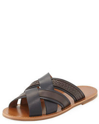 Bottega Veneta Woven Leather Crisscross Sandal Navybrown