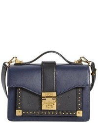 MCM Small Marien Studded Leather Canvas Satchel