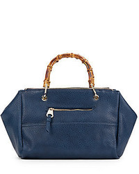 Sondra Roberts Bamboo Handle Faux Leather Handbag