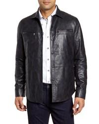Robert Graham Gable Regular Leather Shirt Jacket