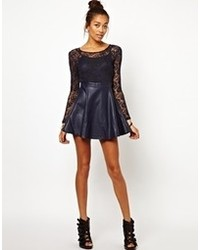 Motel strawberry skater dress in skull lace with pu skirt navy medium 84782