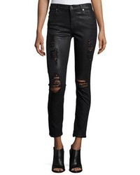 Navy Leather Skinny Jeans