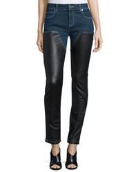 Givenchy Skinny Ankle Jeans Wleather Front Denim