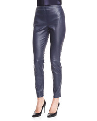St. John Collection Stretch Napa Leather Cropped Leggings Bright Navy