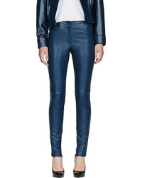 Mugler peacock blue patent leather high waist stretch leggings medium 52449