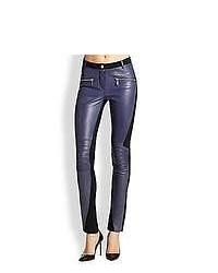 Rebecca Minkoff Avenue Leather Combo Moto Pants Paris Blue