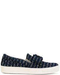 Karl Lagerfeld Buckled Tweed Slip On Sneakers