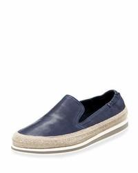 Prada Leather Slip On Espadrille Sneaker Blue