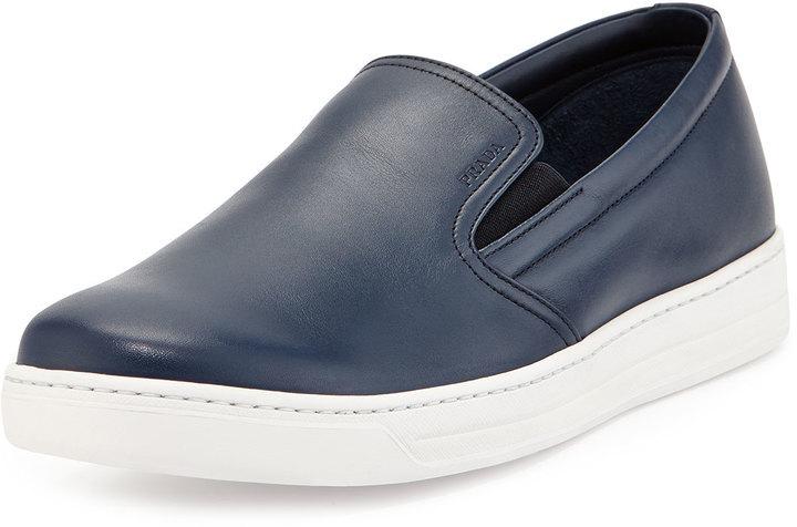 b6f5933e67e7 ... Prada Leather Slip On Sneaker Navy ...