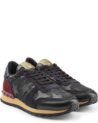 Valentino Camustars Rockstud Fabric And Leather Sneakers