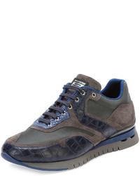 Stefano Ricci Croc Leather Sport Sneaker Blue