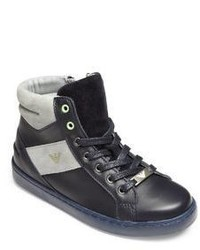 Armani Junior Kids Leather High Top Sneakers