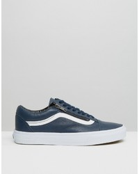 vans old skool blue leather