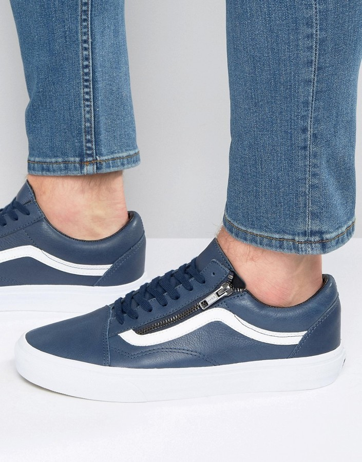 vans old skool leather zip blue