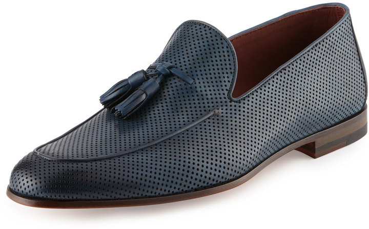27831f803d1 ... Navy Leather Tassel Loafers Magnanni For Neiman Marcus Perforated  Leather Tassel Loafer Blue ...