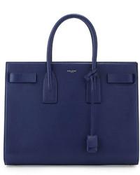 Saint Laurent Classic Sac De Jour Leather Tote Bag Blue