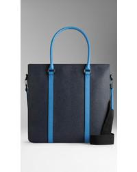 Burberry Colour Block London Leather Tote Bag