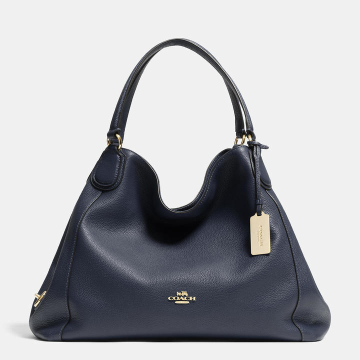 Navy Leather Tote Bags Coach E Shoulder Bag In