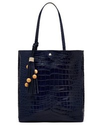 Elizabeth and James Eloise Croc Embossed Leather Tote Blue