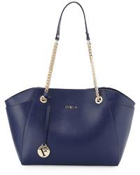 Furla Julia Medium Leather Tote Bag Navy