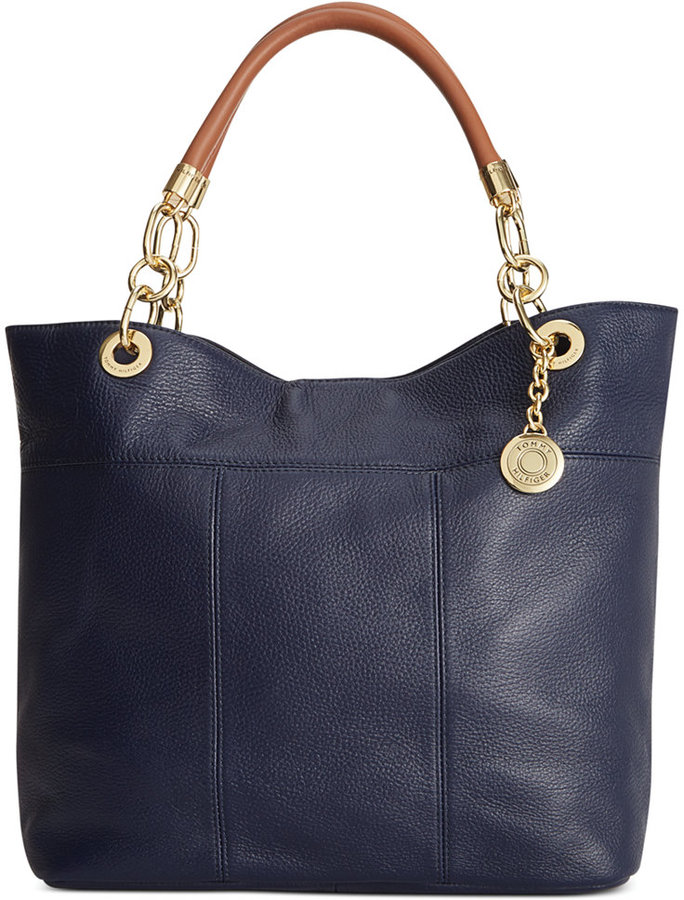 d7bfcbc0682e1 ... Navy Leather Tote Bags Tommy Hilfiger Leather Th Signature Tote ...