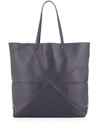 Loewe Lia Origami Leather Tote Bag Navy