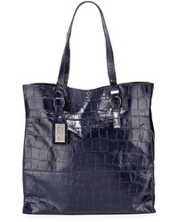 Badgley Mischka Liv Crocodile Embossed Tote Bag Navy