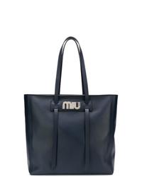 Miu Miu Logo Plaque Shopper Tote