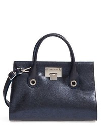 Medium riley metallic leather tote blue medium 3683635