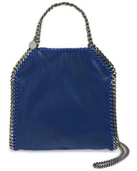 Mini falabella shaggy deer faux leather tote blue medium 968250
