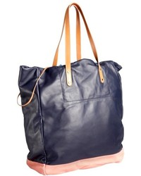 Paul Smith Navy And Pink Leather Two Tone Drawstring Tote Bag