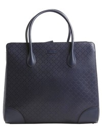 Gucci Navy Blue Leather Woven Bright Diamante Tote