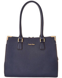 Calvin Klein On My Corner Saffiano Leather Satchel Tote Handbags