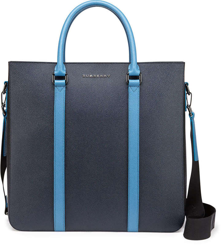 dc6dcdf6a6e8 ... Burberry Pebbled Leather Tote Bag Navylight Blue ...
