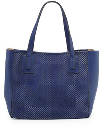 Neiman Marcus Perforated Small Tote Bag Navy