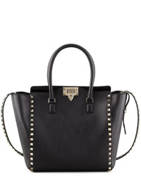 Valentino Garavani Rockstud Double Handle Shoulder Tote Bag Black
