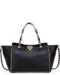 Valentino Rockstud Medium Beaded Tote Bag Black